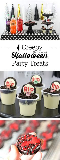 Creepy Halloween Party Treats. From haunted pudding cups, to blood spattered OREO cookies and more. Make Dead Sea Pudding Cups with OREO, Sour Patch Kids and Snack Pack Pudding Cups. #BootasticHalloween #ad