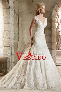 2016 V-cuello vestidos de novia vaina / columna de tren de la corte con apliques