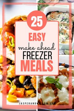 These 25 make ahead freezer meal recipes are perfect for busy family dinners. These easy recipes are great for meal prep with your weekly meal plan. These freezer meals for the crockpot, and mornings use ground beef and chicken too. Freezer Friendly Meals, Make Ahead Freezer Meals, Freezer Cooking, Easy Meals, Freezable Meals, Frugal Meals, Meal Recipes, Easy Dinner Recipes, Mexican Food Recipes