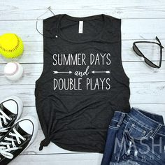 Summer days and double plays! This muscle tank is super soft and very trendy. With its low cut armholes, it is perfect for layering with a cute bralette or cami underneath. Tank in picture is black heather with white writing. ⚾How to Order: -Choose your tank color and size from