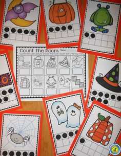 Halloween Count the Room and Counting On -- differentiated math center activity with ten frames and two different recording sheets.