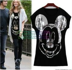 East Knitting AS-021 Women summer tshirt Fashion tops 2014 shirt for women Spike Mickey Mouse t-shirt  Short Sleeve