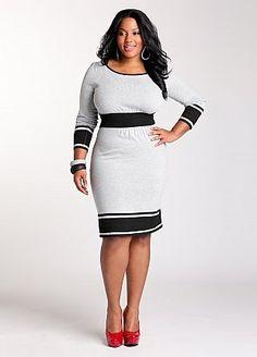 Ashley Stewart: plus size. Colorblock Banded Waist Dress - StyleSays