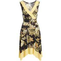 StellaMax Yellow & Black Floral Surplice Handkerchief Dress ($30) ❤ liked on Polyvore featuring dresses, floral day dress, handkerchief hem dress, long yellow dress, yellow floral print dress and long handkerchief dress