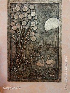 Картина панно рисунок Аппликация И опять денежное  Картон фото 1