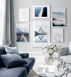 Gallery Wall with nature motifs in tones of blue - Wall art with beautiful posters and art prints - Find inspiration for your personal wall art with posters & art prints from Posterstore.se Spice up your living room or bedroom.