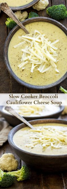 Slow Cooker Broccoli Cauliflower Cheese Soup Loaded with broccoli cauliflower and extra sharp cheddar cheese this healthy slow cooker soup couldn t be easier to make Gluten free vegetarian Crock Pot Recipes, Slow Cooker Recipes, Cooking Recipes, Cheese Recipes, Cooking Tips, Yummy Recipes, Crock Pots, Keto Recipes, Soup Crockpot Recipes