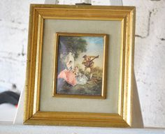 Vintage French Lovers Gold Framed Picture by TwistedVictoria
