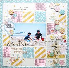 #papercraft #scrapbook #layout - Beach layout