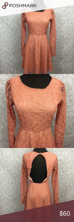 🍎Moon Collection Salmon Lace Long Sleeve Dress Moon Collection NWT Salmon Lace Long Sleeve Back Cut-out Dress Size S(2) M(1) L(1)  Small: Bust: 36 inches around      Waist: 28 inches around     Length: 34 inches long  Medium: Bust:  38 inches around    Waist: 30 inches around     Length: 34 inches long  Large: Bust: 38 inches around   Waist: 32 inches around  length: 34 inches long  This is new with tags.  This has never been worn. Please refer to photos for more details. Moon Collection…