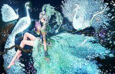 Opal princess with peacock feather dress by manga artist Shiitake. Chica Anime Manga, Manga Girl, Anime Art, Anime Girls, Girls Characters, Manga Characters, Theme Anime, Japanese Illustration, Manga Artist