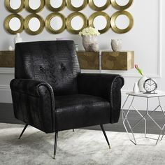Mira Retro Mid Century Faux Leather Accent Chair in Black - Safavieh the retro style of Don Draper's inimitable urban nest with this mid-century sofa chair. A fresh spin on the traditional armchair, it's upholstered in rich bla Furniture, Safavieh Furniture, Living Room Chairs, Mid Century Accent Chair, Black Accent Chair, Chair, Leather Accent Chair, Armchair, Retro Armchair