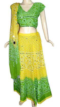 Rajasthani Yellow Bandhej Bandhini Lehenga Choli Designer Womens Dandiya Dress