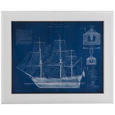 Bassett Mirror Pan Pacific Antique Ship Blueprint IV Art