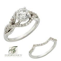 14K White Gold Wedding Set 1 carat center 1/2 carat total weight (12B)