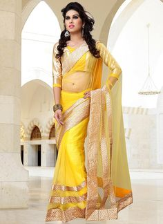 Be an angel and create a smashing impact on everyone by wearing this blissful yellow net party wear saree. This party wear saree is embellish with patch border work. Comes with matching blouse fabric....