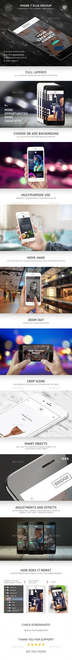 Phone 7 Plus Mockup by RSplaneta iPhone 7 Plus Mockup is Photoshop template of your favorite phone which promotes better operative characteristics of this mobile p