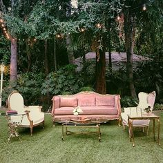 We were honored to be part of a wonderful wedding at Hartley Botanica. This lounge area is so dreamy and romantic set among the trees.  | Pretty Vintage Rentals -  California weddings