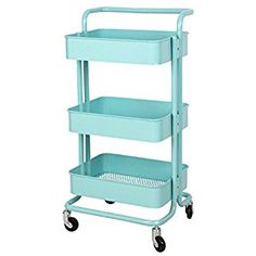 Metal Mesh Storage Shelf Utility Rolling Cart with Removable Handle and Plug, Indoor or Outdoor Storage Organizer, Turquoise Study Room Decor, Room Ideas Bedroom, Diy Bedroom Decor, Nursery Ideas, Cheap Storage, Storage Rack, Storage Shelves, Rose Gold Room Decor, Rose Gold Rooms