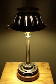 Mossy's Steel Colander & Scrapyard Desk Lamp by MossysMostWanted.com Desk Lamp, Table Lamp, Modern Industrial Furniture, Old Car Parts, Old Oak Tree, Old Cars, Furniture Design, Art Pieces, Steel