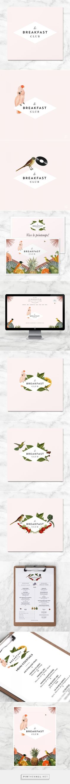 Compass Island, Le Breakfast Club branding. Love the diamond shape with the illustrated tropical birds | Graphic Design | Logo Design