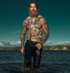 Josh Mario John - full thick bushy blond beard mustache beards bearded man men tattoos tattooed #beardsforever