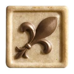 """Marazzi Romancing the Stone 2"""" x 2"""" Compressed Stone Fleur de Lis Insert with Bronze Inlay in Ivory"""