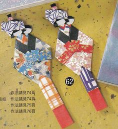 Washi Origami Paper Doll and Bookmark Japanese Craft Kimono Doll Handmade Japan Traditional Crafts TUTORIAL pdf E PATTERN in Chinese. $3.00, via Etsy.
