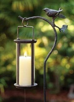 Lantern Stake Candle Holders Charleston Gardens Home and Garden Collection Classic outdoor and garden furnishings urns planters and gardenrelated gifts Garden Candles, Garden Lanterns, Candle Lanterns, Metal Lanterns, Flameless Candles, Diy Garden, Garden Art, Home And Garden, Garden Whimsy