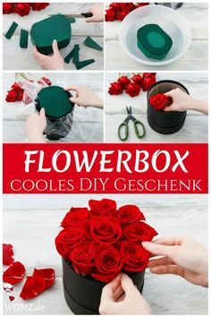 Flowerbox selber machen, perfektes DIY Geschenk - WOMZ Are you looking for a gift idea for Valentine's Day or Mother's Day? Why not just make a gift yourself? How about a beautiful flower box? Flower Box Gift, Flower Boxes, Diy Flowers, Diy Home Decor Projects, Diy Projects To Try, Homemade Gifts, Diy Gifts, Bouquet Cadeau, Rosen Box