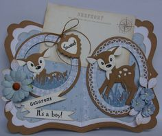 Marianne Design Cards, Baby Deer, Handmade Baby, Baby Cards, Craft Stores, Die Cutting, Card Ideas, Card Making, Baby Moon