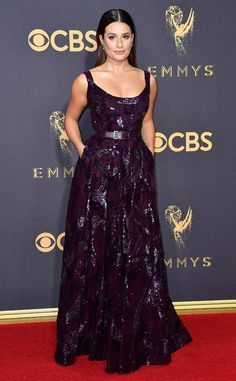 Red carpet style: Best and worst dressed lists at the 2017 Emmy Awards | Lea Michele in purple scoop neck gown | The Luxe Lookbook