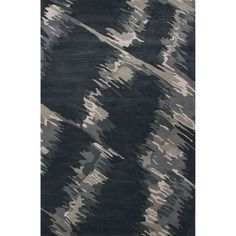 Hand Tufted Abstract Pattern Blue/ Black Wool Area Rug (5' x 8')