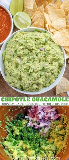 Chipotle Guacamole (Copycat) made with the authent. - Chipotle Guacamole (Copycat) made with the authentic Chipotle recipe including lime juice, cilantro, red onions and jalapeños takes guacamole to a new level at home in 15 minutes! Chipotle Copycat Recipes, Copykat Recipes, Avocado Recipes, Chipotle Restaurant Recipes, Mexican Food Recipes, Vegetarian Recipes, Cooking Recipes, Healthy Recipes, Salsa Guacamole