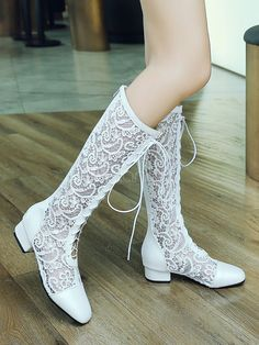 Women Wide Calf Boots Lace Square Toe Chunky Heel Lace Up Boots - Milanoo.com Wedding Boots, Wedding Lace, Wedding Dresses, Summer Boots, Wide Calf Boots, Fall Shoes, Pretty Shoes, Black Laces, Types Of Shoes