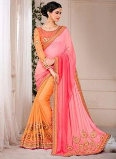 Peach Pure Silk Saree With Lace Border Work ,Indian Dresses