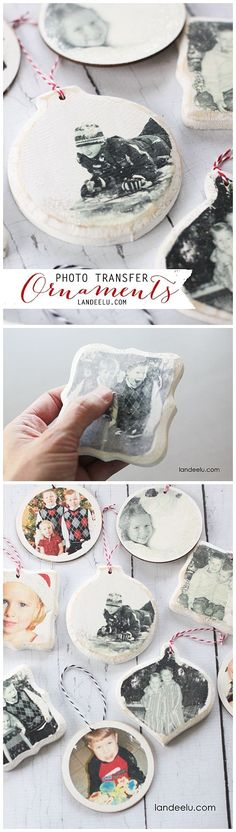 Transfer Christmas Ornaments Photo Transfer Christmas Tree Ornaments DIY Step by Step Tutorial - So easy and such wonderful keepsakes!Photo Transfer Christmas Tree Ornaments DIY Step by Step Tutorial - So easy and such wonderful keepsakes! Christmas Tree Ornaments To Make, Diy Christmas Ornaments, Diy Christmas Gifts, Christmas Projects, Holiday Crafts, Christmas Holidays, Christmas Decorations, Ornaments Ideas, Tree Decorations