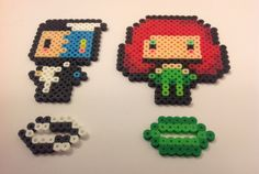 Chibi Two Face and Poison Ivy - Batman perler beads by YattaCreations