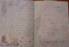 "6th grader Donovan wins one of my ten ""Mr. Stick of the Year"" notebook awards with this illustrated, on-going story he's been working on.  It's written in pencil, so it's a bit hard to read, but you can zoom in if you click on the image!  THANKS, Donovan, for keeping such a wonderful, bacon-inspired writer's notebook all year."