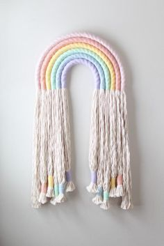 Extra Long Fringed Pastel Mega Rainbow Fiber Wall Hanging Macrame - One made to order hand wrapped cotton in pastel rainbow colors. Extra long fringe, finished with wr - Cute Crafts, Yarn Crafts, Long Fringes, Rainbow Wall, Macrame Projects, Beaded Garland, Room Colors, Diy Wall, Wall Art
