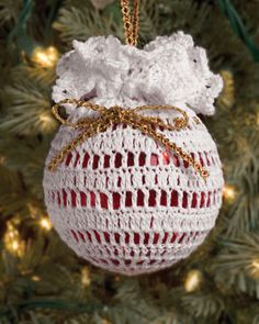 """Free pattern for """"White Christmas Ball Ornament""""!"""