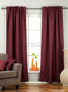 "Dark Maroon Rod Pocket Matka Raw Silk Curtain / Drape - 84"" - Piece by Indian Selections. $54.58. Hi header: Yes (2 Inches). Length: 84 Inches. Material: Silk blend with rayon & viscose. Sold per piece. The price mentioned is for 1 curtain. Width of each panel: 43 Inches. Tiebacks: No Can accommodate curtain rods up to 2.5 inches in diameter Care instructions: Hand wash or dry clean Matka silk also known as ""Raw Silk"" fabric is a heavy weight fabric made from thick yarns. Thi..."