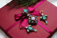 """Купить Комплект """"Опаловый"""" - розовый, брошь ручной работы, орден, бисерное украшение, подарок"""