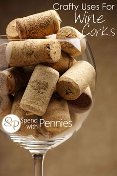 10 Fun Crafty Ideas for Wine Corks! Pin it to SAVE it and SHARE it! Follow Spend With Pennies on Pinterest for more great tips & DIY! Craft Ideas for Corks Wine corks are fun, distinctive, easy to use craft materials.  You can make a ton of fun, interesting things with them.  So, next time you open up a bottle of wine don't toss the cork in garbage, keep them in a bowl or decorative jar and when you've saved  {Read More}