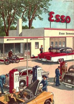 Esso gas station s Old Gas Pumps, Vintage Gas Pumps, Automobile, Pompe A Essence, Pub Vintage, Old Gas Stations, Filling Station, Car Repair Service, Garage Art
