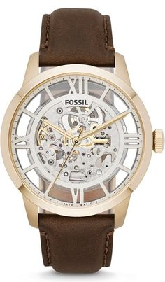 #Fossil #Watch Townsman Automatic Leather Watch - Brown Me3043
