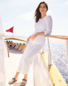 Summer ready whites. | Talbots Summer Outfits Linen Blazer, Striped Linen, Color Stripes, Summer Collection, Talbots, White Jeans, Summer Outfits, Fashion Outfits, Clothing