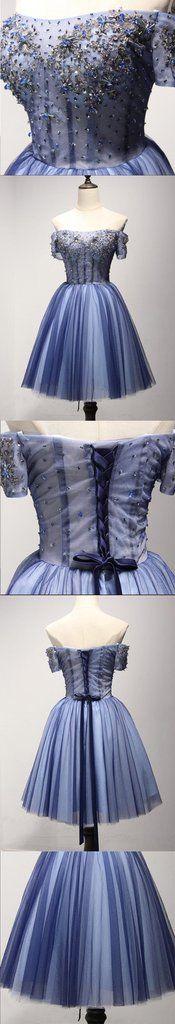 Off Shoulder Short Sleeve See Through Homecoming Prom Dresses, Afforda – SposaDesses
