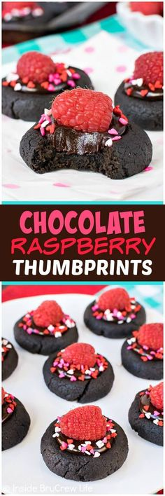 Chocolate Raspberry Thumbprint Cookies - soft little chocolate cookies filled with a fudge center and topped with fresh raspberries makes a delicious and pretty cookie. Such an easy cookie recipe to make for Valentine's day parties or dinner parties! #cookies #chocolate #thumbprintcookies #raspberry #valentinesday