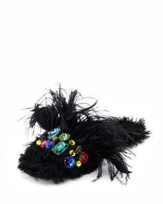 S18GP Miu Miu Jeweled Furry Flat Mule, Black